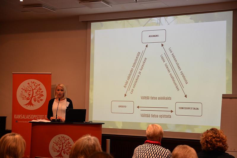 Kansalaisopistojen markkinaorientaatiosta väitellyt FT Emilia Valkonen muistutti opiston opetushenkilökunnan rooleista. Opiskelijan mielikuvat ja odotukset opetuksesta lunastaa tuntiopettaja.
